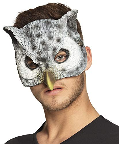 Maske Kostüm Eule - costumebakery - Kostüm Accessoire Zubehör Damen Halbmaske Eule Uhu Schneeeule, Half Mask Owl, perfekt für Karneval, Fasching und Fastnacht, Grau