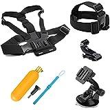 SHOOT Kit de accesorios para GoPro Hero4 Black Silver Hero HD 4/3 +/3/2/1 Cámaras cabeza correa + Correa de cinturón de pecho + ventosa Soporte de coche + Flotante Bar
