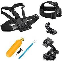 SHOOT Kit de accesorios para GoPro Hero 6/5/4/3 Cámaras cabeza correa + Correa de cinturón de pecho + ventosa Soporte de coche + Flotante Bar