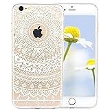 iPhone 5S Hülle, iPhone SE Hülle, SpiritSun Weich TPU Silikon Schutzhülle für Apple iPhone SE / 5 / 5S Transparent Handyhülle Ultra Dünn Bumper Etui mit Tribal Muster - Weiß Lotus Blume