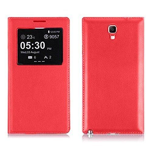 VCOMP Custodia Cover Guscio sportellino Vista Compatibile con Samsung Galaxy Note 3 Neo/Lite Duos 3G LTE SM-N750 SM-N7505 SM-N7502 - Rosso