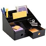 Suministros De Oficina Best Deals - mDesign - Organizador de suministros de oficina, con cajones, para escritorio; guarda lapiceras, marcadores, resaltadores, notas autoadhesivas, tijeras - Negro