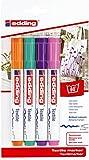 edding 4500 Textil-Marker - 4er Blister - Fun Farben - Rundspitze 2-3 mm - Zum Bemalen von Textilien (wie z.B. T-Shirt, Kissen, Beutel) - Textilfarbe waschmachinenfest bis 60°C