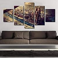 ZYUN HD Impreso Lona Pintura Póster Mural Decoración del hogar 5 Paneles Castillo de Juego de Tronos para Sala de Estar Impreso Moderno Imágenes,B,40×60×2+40×80x2+40×100×1