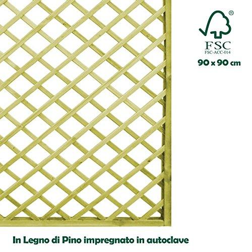 BAKAJI Pannello grigliato separe' in Legno impregato per Esterno Giardino 90 x 90 cm
