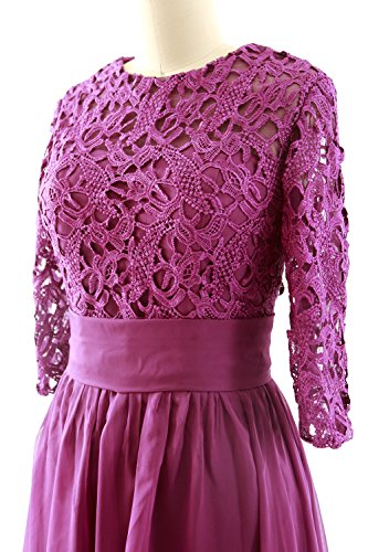 MACloth Women 3/4 Sleeve Lace Short Mother of Bride Dress Formal Evening Gown Menthe