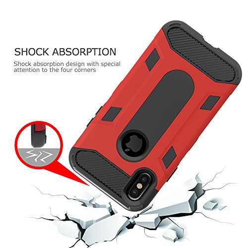 iPhone X Case, Three Layer Hybrid Defender Case VMAE 3in1 Full Body Armor Anti-Slip Protective Cover Shockproof Hard PC Soft TPU Bumper Case for Apple iPhone X Edition/iPhone 10 - Red Red