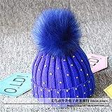 mlpnko Kinder große Haare Ball Wolle Hut Strickmütze Baby Hut Baby Kopf Mütze blau 48-52CM