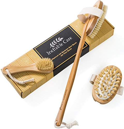 cepillo de cuerpo para piel seca cepillado Natural, cerdas de jabalí y desmontable con mango largo, cepillo, Pre de ducha y baño cepillo para la espalda Exfoliante Y Reducir Celulitis