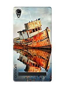 Omanm Small Ship Effect In Water Painted Designer Back Cover Case For Intex Aqua Power Plus