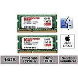 Komputerbay 16GB Dual Channel Kit 2x 8GB 204pin DDR3-1333 SO-DIMM 1333/10600S (1333MHz, CL9) für MAC und PC