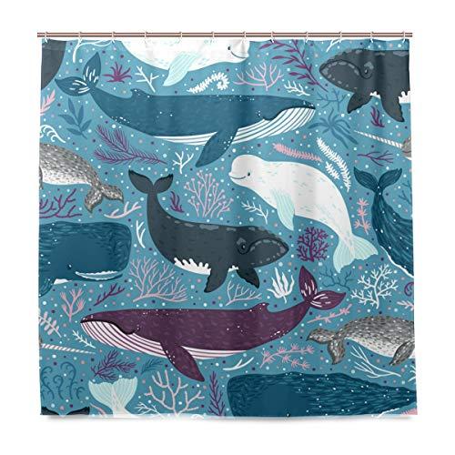 Marina Duschvorhang (Orediy Badezimmer-Duschvorhänge, Wale Marine Säugetiere, wasserdicht, Anti-Schimmel, Polyester, 180 x 180 cm, Badevorhang mit Haken)