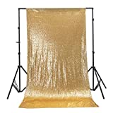 UKKRW - Tende Decorative con Lustrini, 3 x 1,8 m, Colore: Oro e Argento Dorato