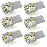 SODIAL (R) 6 6X T10 5630 SMD LED de luz de freno del coche luz de estacionamiento Piloto trasero luz blanca DC12V