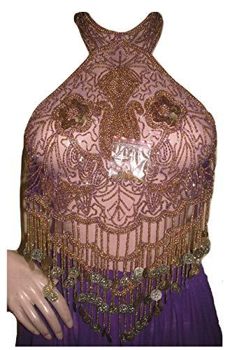 Dancer World Ltd Petite Neckholder Top Bauchtanz Kostüm Sequin Net Mesh Tops (LILA Gold, UK - Lila Und Gold Bauchtanz Kostüm