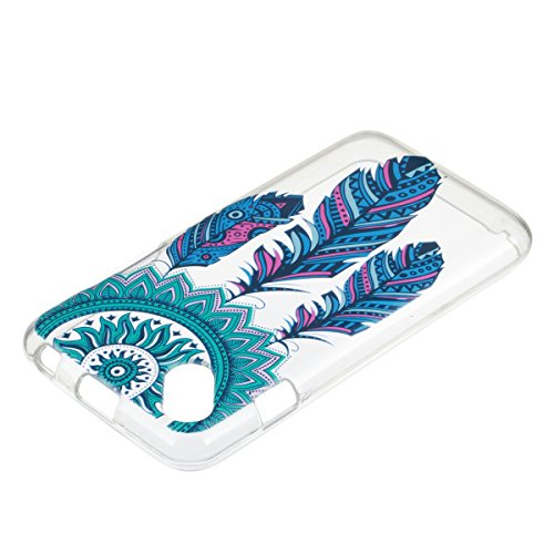 Wiko Sunset 2 Custodia Silicone, Custodia Cover per Wiko Sunset 2 in Silicone Transparente, JAWSEU Creativo Disegno Ultra Sottile Slim Cristallo Chiaro Custodia per Wiko Sunset 2 Protettiva Bumper Cas Piume Blu