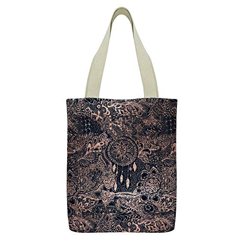 Bolso de mano de lona Cute Sloth Flower Print Grocery Bolso Casual School Shoulder Bag para mujeres niñas,Moderno rosa oro atrapasueños floral azul marino azul madera