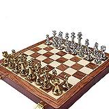 YZH Jeu d'échecs, Jeu de Damier Portable en Alliage de Zinc, Pièces d'échecs...