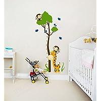 Ufengke® Leopard Cartoon Animals Raccoon Cute Monkey Elephant and Tree Vine Atten Wall Stickers, Children