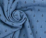 0,5m Musselin Stoff Anker - graublau Baumwolle