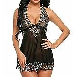 MEIbax Sexy Lingerie, Donne sexy lingerie due colori biancheria intima lingerie abiti da notte pizzo babydoll (S, Nero)