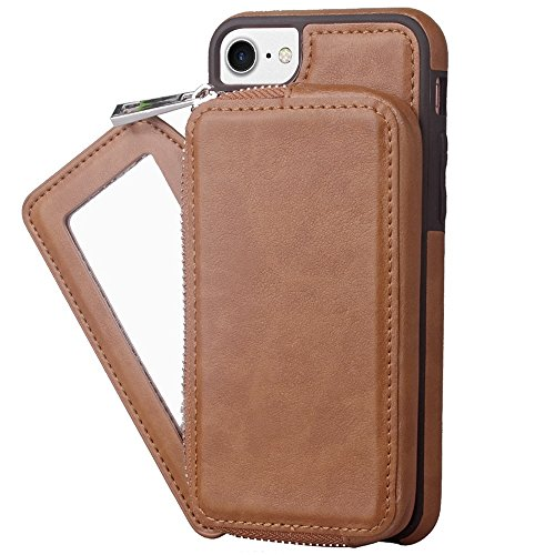 Hülle für iPhone 7 plus , Schutzhülle Für IPhone 7 Plus, Retro stilvolle PU-Leder-Geldbörse mit großem Kapazitäts-Reißverschluss-Beutel-Kasten ,hülle für iPhone 7 plus , case for iphone 7 plus ( Color Brown