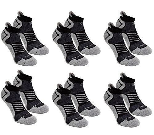 BRUBAKER Chaussettes de sport - Lot de 6 Paires - Talon renforcé et Languette douce - Gris / Noir avec logo noir - EU 43-46 Brubaker