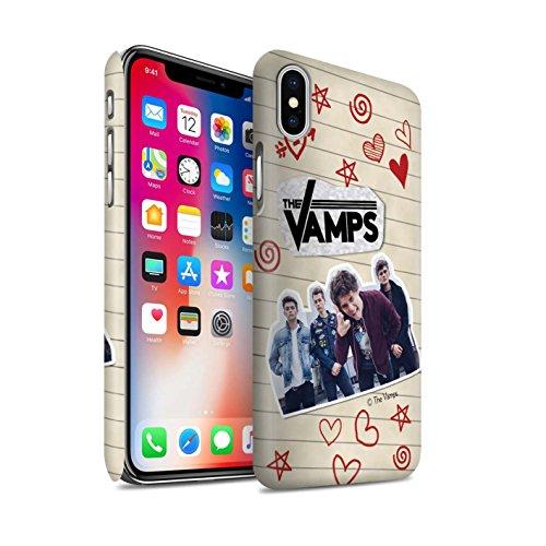 Offiziell The Vamps Hülle / Matte Snap-On Case für Apple iPhone X/10 / Ausgeschnitten Muster / The Vamps Doodle Buch Kollektion Rot Stift