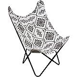 Promobo - Fauteuil Chaise Siège Papillon en Coton Design Ethnique Noir Et Blanc