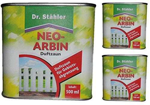 GARDOPIA Sparpaket: 3 x 500 ml Dr. Stähler Neo-Arbin Wildtierabwehr Vergrämungsmittel Duftzaun + Gardopia Zeckenzange mit Lupe
