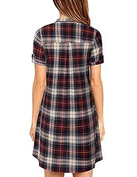 Youtalia T-shirt Dress Women, Juniors Checkered Mini Dress Classical V Neck Comfy Loose Fitting Blouse & Tops,red Black Xxl 1