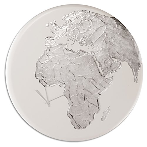 Pintdecor Globe Clock Horloge, MDF, Blanc Ivoire/Argent, 80 x 80 x 3 cm
