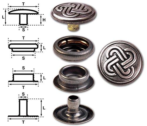 15Set in ottone (Nickel Free) chiusura a scatto Pulsante, Pulsante di rivetti Rapid, premere Bottone a pressione, 15,2mm, nodo celtico 2, finitura: nickel-antique