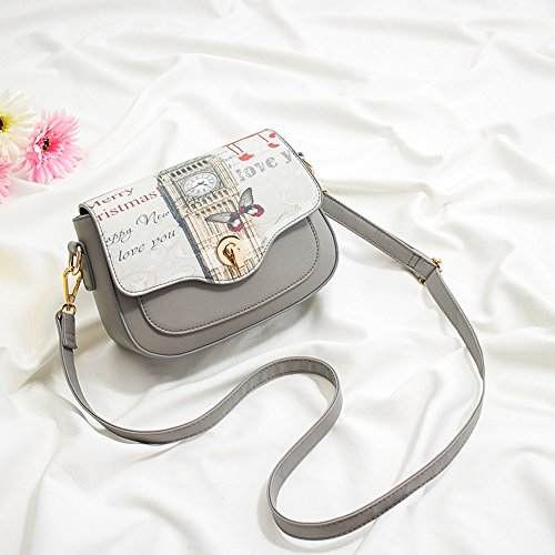 Pacchetto estivo, moda versione coreana della borsa a tracolla d'onda, zaino obliqua, mini sacchetto di personalità selvaggio ( Colore : Blu zaffiro ) Grigio