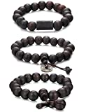 Jstyle Schmuck 3 Pcs 11mm Holz Perlen Armband für Männer Frauen Tibetan Buddhist Prayer Link Cool