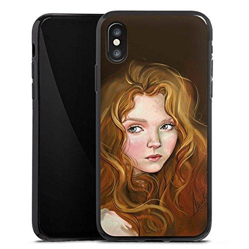 Apple iPhone X Silikon Hülle Case Schutzhülle Mädchen Frau Kunst Silikon Case schwarz