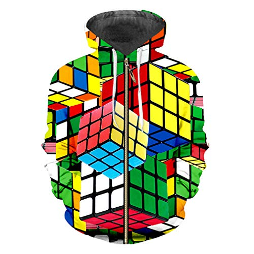 cilily Sommer-Männer-Persönlichkeits-Würfel-3D Druck-Karierte Oberteile Trendy bunter ZipHoodie Rubik - Paar Würfel Kostüm