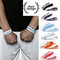 Aura Design Armband für Damen & Herren   Sportarmband   Silikonarmband   Fitness Armband   4 Armbänder   202 mm