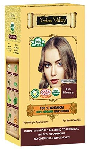 100% Organic 100% Botanical Natural Herbal Hair Dye Color Aschblond für Männer und Frauen 100% frei von Chemikalien, kein PPD, kein Ammoniak, kein Peroxid und keine Schwermetalle (Ash Blonde)