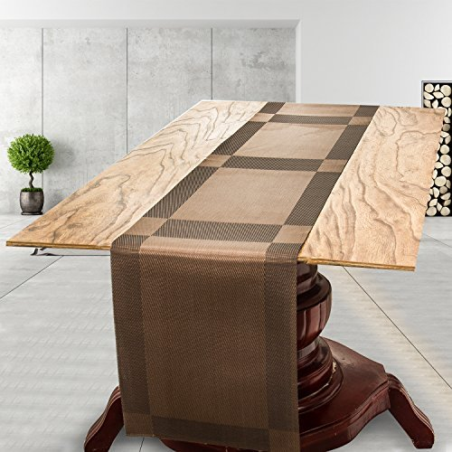 Charmant Uu0027Artlines Compatible Table Runners, 1 Piece Woven Vinyl Table Runner  Washable 30x180cm Brown Table Runner