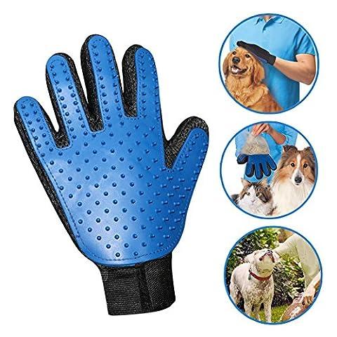Idepet Haustier Hund Katze Pflege Handschuh, Deshedding Pinsel Handschuh, lange kurze Haare Entferner Pinsel für Pet Massage Baden Bürsten Haustierpflege Werkzeug