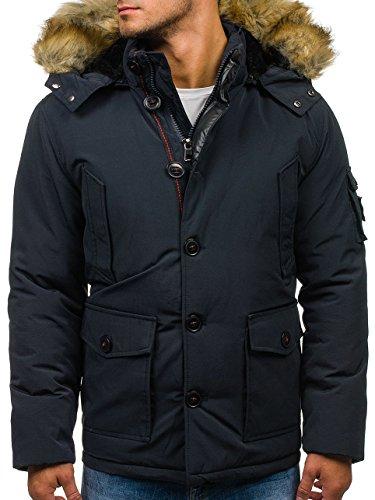 BOLF Herren Winterjacke Jacke mit gefütterte Kapuze Stehkragen Sport Style NATURE 4668 Dunkelblau M [4D4]