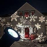 GESIMEI LED Inundar Luces Interior/ Al aire libre Emocionante Copo de nieve Paisaje Proyector Lámpara Navidad Árbol Jardín Patio Escenario Casa Decoración (Blanco)