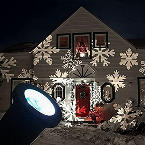 GESIMEI LED Inondation Lumières Intérieur/ Extérieur En mouvement Blanc Flocon de neige Paysage Projecteur Lampe Noël Arbre Jardin Patio Étape Maison