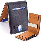Rush Portefeuille pour Homme | Bloc RFID/NFC Protection Contacless | Clip/Pince à Billets en Acier et Porte-Monnaie Pocket avec Zip | Quick Slot - 9 Cartes | Version Euro (Noir & Orange)