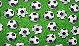 Baumwolljersey Jersey Stoff Digitaldruck Fußball Wiese grün weiß schwarz