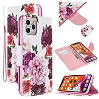 "EnjoyCase Colorful Flip Case for iPhone 12 6.1"",Peony Flower Painted Pu Leather Bookstyle Magnetic Closure Wrist Strap Wallet Case Cover with Stand Function"