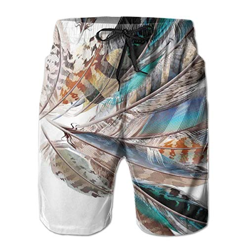 MIOMIOK Men Swim Trunks Beach Shorts,Vaned Types and Natal Contour Flight Bird Feathers and Animal Skin Element Print,Quick Dry 3D Printed Drawstring Casual Summer Surfing Board Shorts L Junior-flight Suit