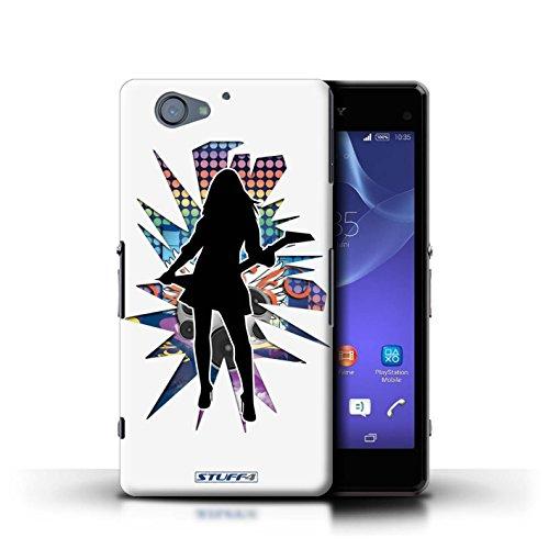 Kobalt® Imprimé Etui / Coque pour Sony Xperia A2 / Pencher Noir conception / Série Rock Star Pose Rock Dame Blanc