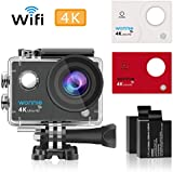 WONNIE Action Camera 4K Wifi Ultra HD Underwater Sport Cam 170°Wide View Angle with 2 Rechargeable and 23 Accessory Kits for Cycling Swimming Snorkeling